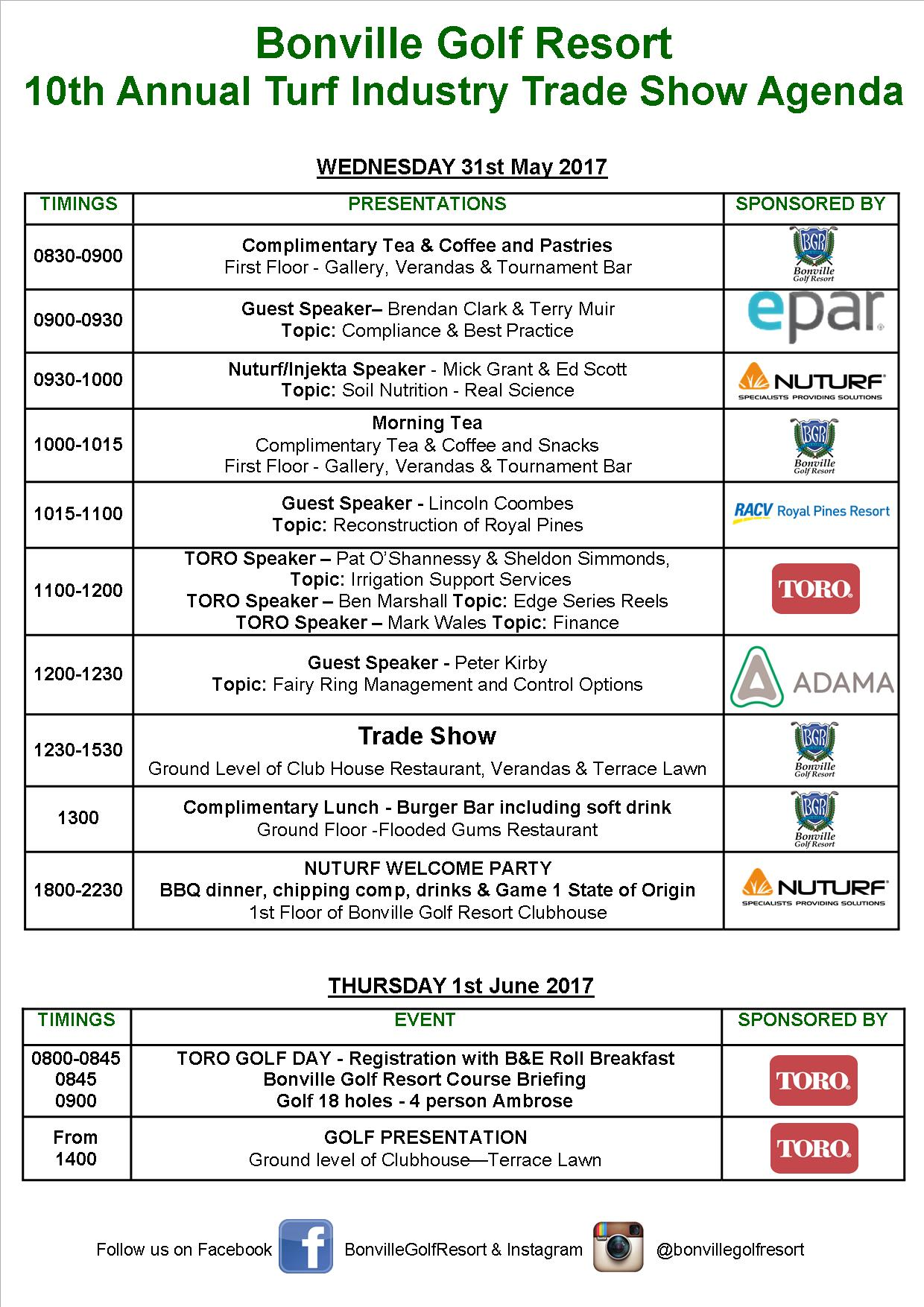Bonville Turf Industry Trade Show Agenda 2017
